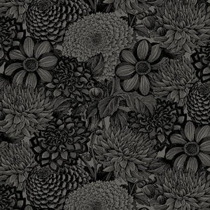 "Black Floral Toile 108"" fabric, Wilmington,  2121-999"