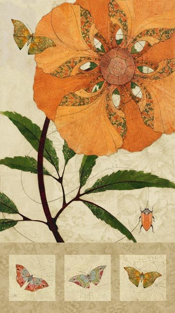 Euphoria Large Rust Flower Panel by Northcott Panel, 21302-12
