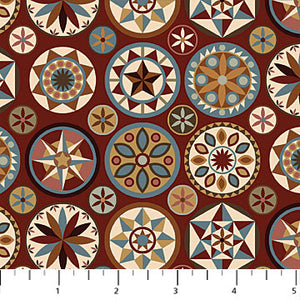 "Brick Red Medallions 44"" fabric by Northcott, Heritage Quilting, 21929-26"
