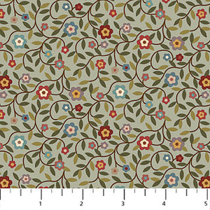 "Blue-Gray Floral with Vines 44"" fabric by Northcott, Heritage Quilting, 21930-41"