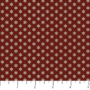 "Brick red with Beige Stars 44"" fabric by Northcott, Heritage Quilting, 21931-26"