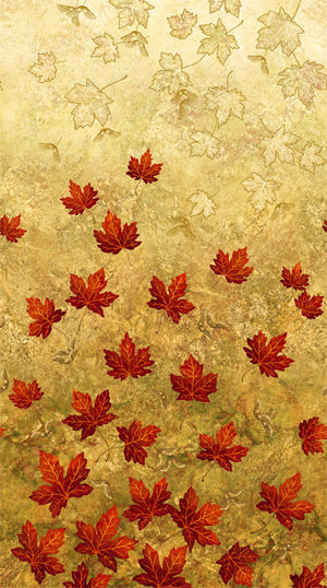 "Tan with Red Maple Leaves 44"" fabric by Northcott, 22015-34, Stonehenge Maplewood"