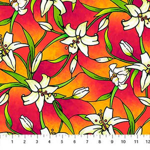 "Orange Lillies 44"" fabric by Northcott, Rejoice, 22143 24"