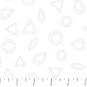 "Northcott 44"" fabric Facets diamonds white 22673-10"