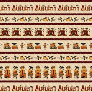 "Buttermilk Autumn Stripe 44"" quilt fabric, Henry Glass, 2272-34"