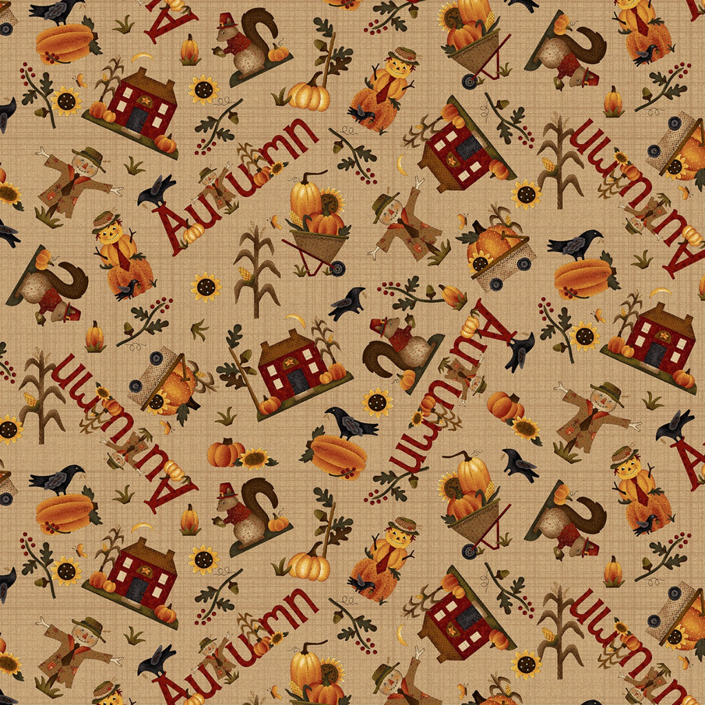 "Tan Autumn Novelty Toss 44"" quilt fabric, Henry Glass, 2273-34"