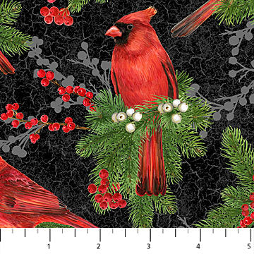 "Cardinals - black background 44"" fabric by Northcott, Cardinal Woods, 22835-99"