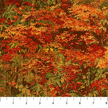 "Red fall leaves 44"" fabric by Northcott, Country Pastimes,  22849-24"