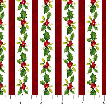 "Holly Stripe 44"" fabric by Northcott, Christmas Delivery, 22874-10"