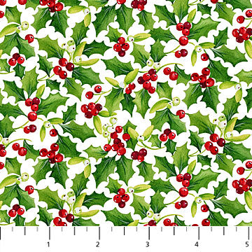 "Christmas Holly 44"" fabric by Northcott, Christmas Delivery, 22875-10"