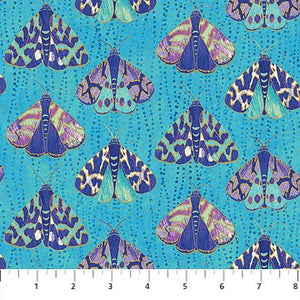 "Teal Metallic Moths 44"" fabric, Northcott, 22958M-63, Fantasia Moths"