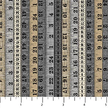 "Neutral Measuring Tapes 44"" fabric by Northcott, 23222-94, Material Girl"
