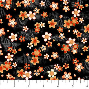"Oriental Flowers on black background 44"" fabric, Northcott, metallic, 23275M-99, Kyoto Garden"