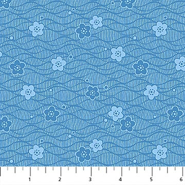 "Blue Asian Flower blender 44"" fabric, Northcott, 23276-44, Kyoto Garden"