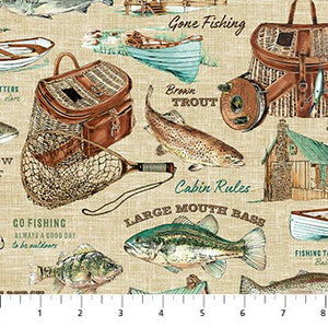 "Tan Fisherman Rod and Reel 44"" fabric by Northcott,  23326-12"