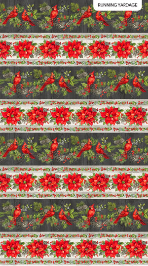 "Cardinals and Poinsettias Stripe 44"" fabric, Northcott, 23472-91, Scarlet Feather"
