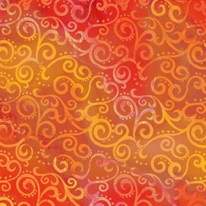 "Orange Ombre Scroll 108"" fabric by Quilting Treasures, 24775-O"