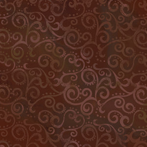 "Rootbeer Brown Ombre Scrolls 108"" fabric by Quilting Treasures, 24775-AT"