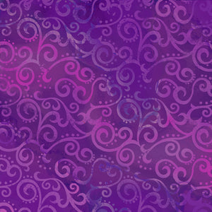 "Grape Purple Ombre Scrolls 108"" fabric by Quilting Treasures,  24775-V"