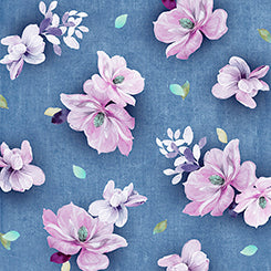 "Denim blue Tossed Flowers 44"" fabric, Quilting Treasures,  26558-W, Jacqueline"
