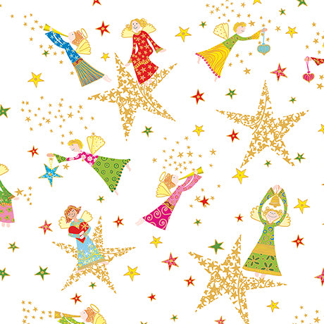 "Mini white Angels & Stars 44"" fabric, Quilting Treasures, 26597-Z, Holiday Minis"