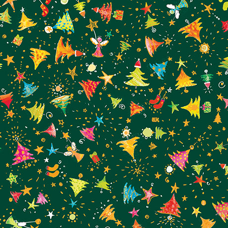 "Green Mini Christmas Trees 44"" fabric by Quilting Treasures, Holiday Minis,  26601-F"