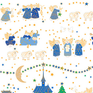 "White Angels & Nativity 44"" fabric, Quilting Treasures, 26602-Z, Holiday Minis"