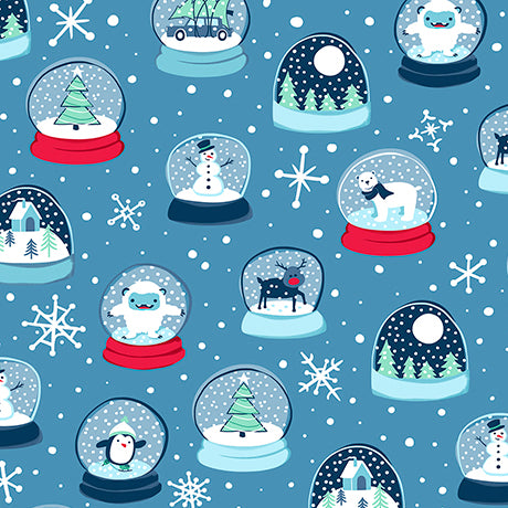 "Blue Mini Snow Globes 44"" fabric by Quilting Treasures, Twinkle Twinkle, 26632-B"