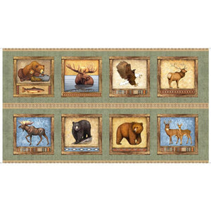 "North American Wildlife Patches 24"" Panel by Quilting Treasures, Dan Morris, 26804-H Timberland Trail"