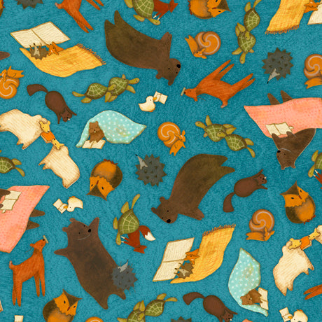"Dark Blue Animal Toss 44"" fabric, Quilting Treasures, 26882-B, Reading Together"