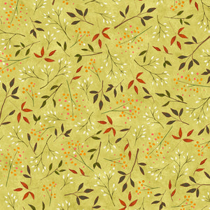 "Spring Green Leaves 44"" fabric by Quilting Treasures, Reading Together,  26883-H"