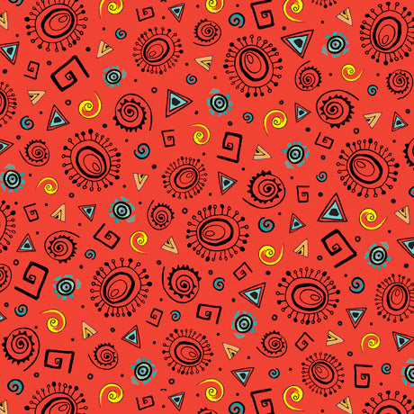 "Dark Orange Tossed Geometrics  44"" fabric by Quilting Treasures, Wild Side, 26908-O"