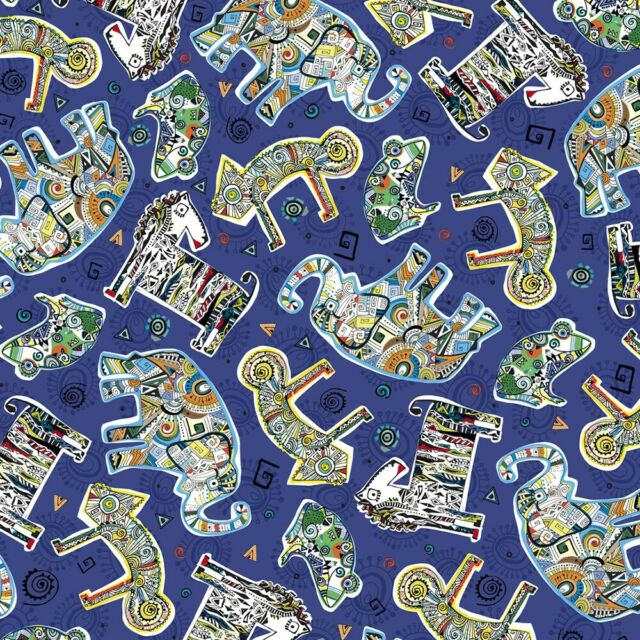 "Blue Tossed Patchwork Animals 44"" fabric, Quilting Treasures, Wild Side, 26909-N"