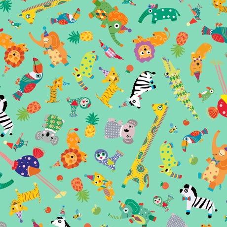 "Green 44"" fabric Safari in the Sky 26964-Q Sold by the 1/4 yard"