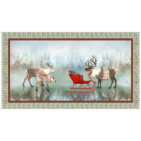 Winter Nordic Deer Panel by Quilting Treasures, Lake Caribou, 27079-X