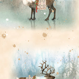 "Tan Nordic Deer Vignettes, Caribou Allover,  44"" fabric by Quilting Treasures, Lake Caribou, 27080-E"