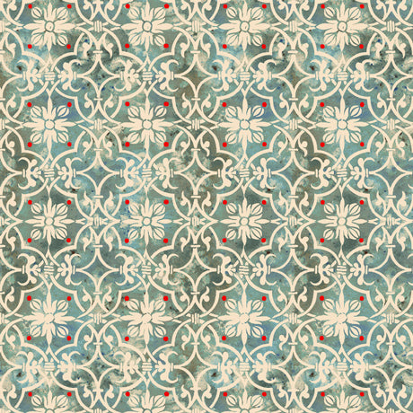 "Dark Aqua Medallion Geometric 44"" fabric by Quilting Treasures, Lake Caribou, 27081-Q"