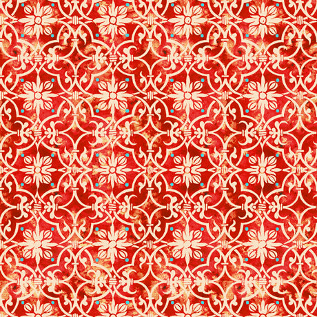 "Red Medallion Geometric 44"" fabric by Quilting Treasures, Lake Caribou,  27081-R"