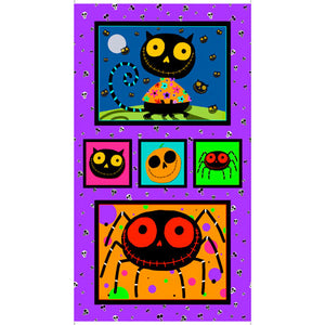 Quilting Treasures Panel Creepy Halloween 27107-X Purple