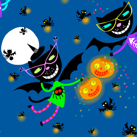 "Witches and Black Cat Halloween by Quilting Treasures 44"" fabric, 27108-W Creepy Halloween"