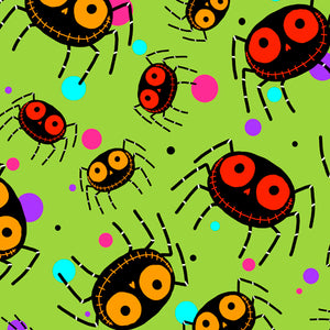 "Smiling Halloween Spiders by Quilting Treasures 44"" fabric, 27109-H Creepy Halloween"