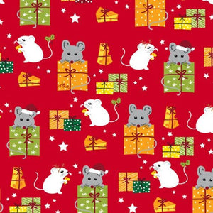 "Mice and Gifts 44"" fabric, Quilting Treasures, 27118-R, Meowy Christmas"
