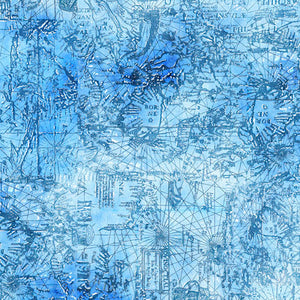 "Blue Map Blender 44"" fabric by Quilting Treasures, Smooth Sailing, 27164-B"