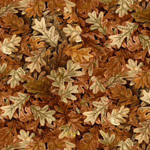 "Brown Leaves 44"" fabric by Quilting Treasures, Turkey Hill,  27170-A"