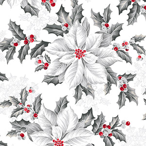 "White Large Poinsettias 44"" fabric by Quilting Treasures, Pretty Poinsettias, 27232-Z"