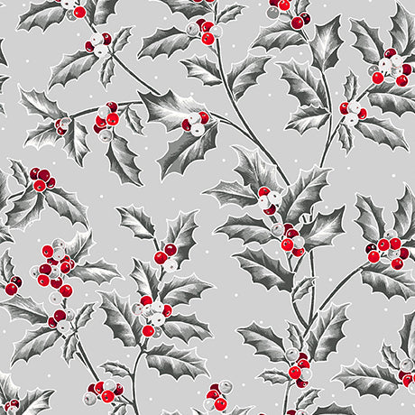 "Grey Holly Vine 44"" fabrics by Quilting Treasures, Pretty Poinsettias,  27233-K"