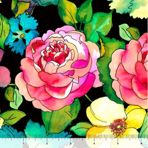 "Large Floral 44"" fabric, Quilting Treasures, 27299-J, Rosalyn"