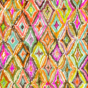 "Orange Watercolor Diamond Ikat5 44"" fabric by Quilting Treasures, In the Groove, 27395-O"