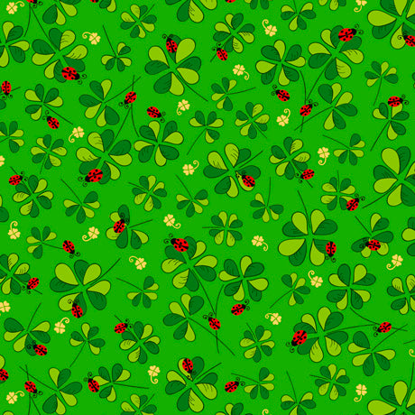 "Lucky Ladybug Clovers 44"" fabric by Quilting Treasures, 27425-G"