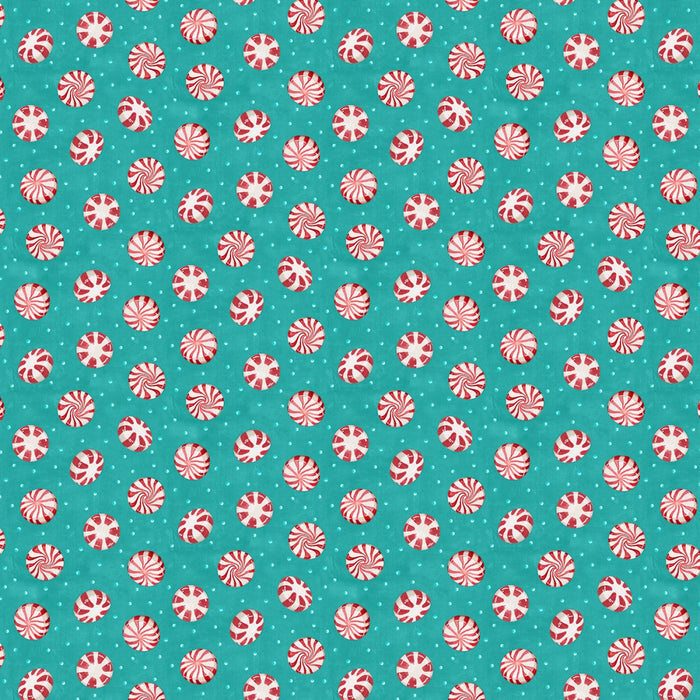 "Teal Peppermint Candy, 44"" fabric, Wilmington, 27574-431, Cuppa Cocoa"